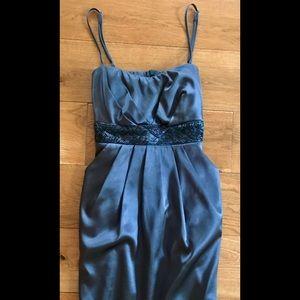 Dresses & Skirts - Dark Grey Satin Beaded Dress